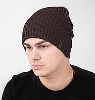 Зимняя двусторонняя вязаная мужская шапка с подгибом - Артикул AL17027