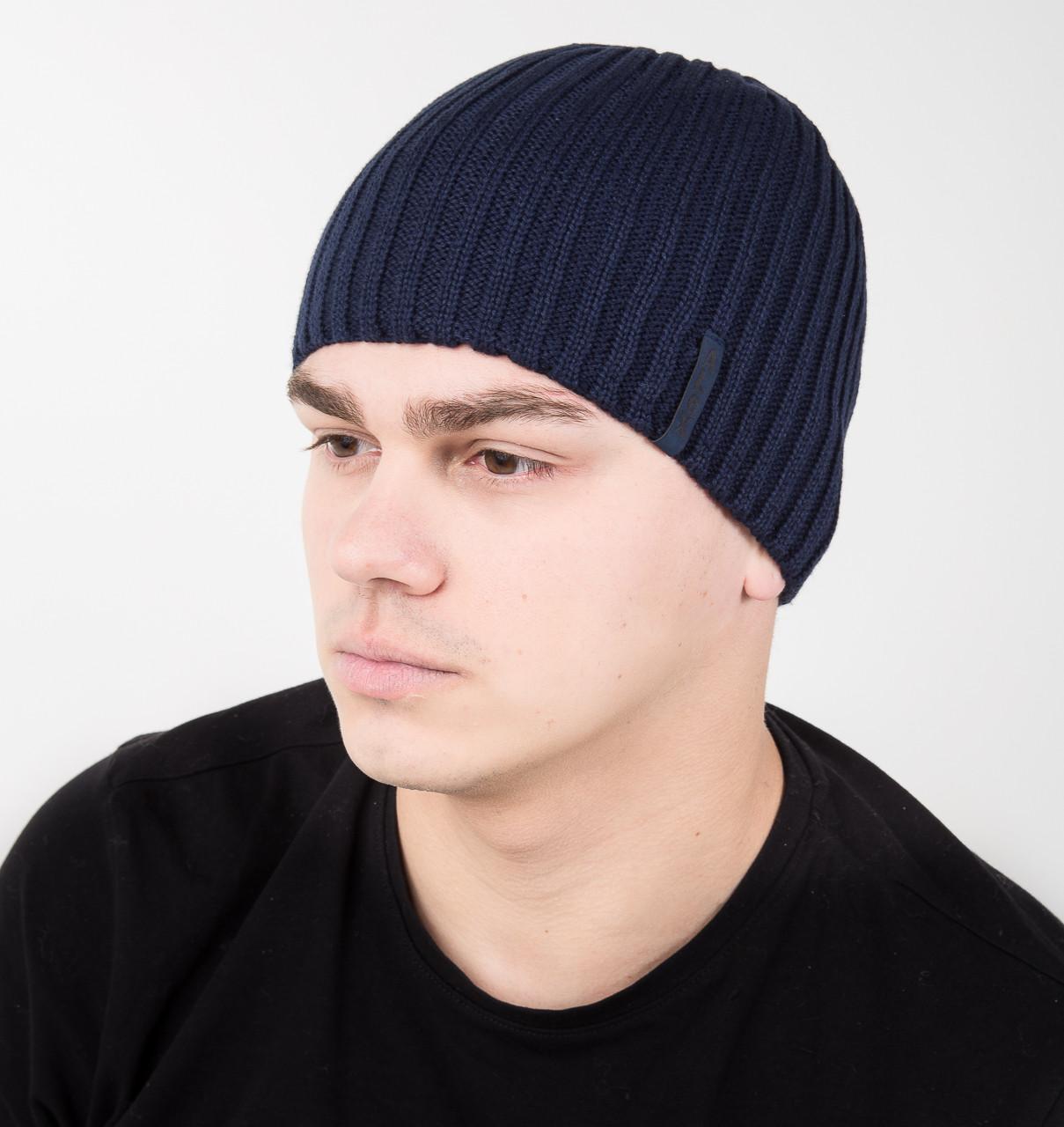 Повседневная мужская шапка на флисе из вязки - Артикул AL17040