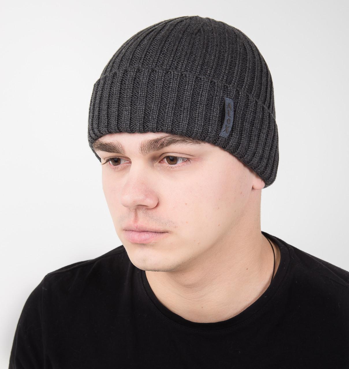 Вязаная мужская шапка с отворотом на флисе - Артикул AL17030