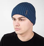 Зимняя вязаная мужская шапка на флисе с закачкой - Артикул AL17030