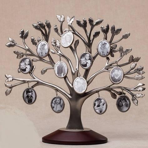 Семейное родовое дерево на 12 фотографий с деревянной подставкой, фото 2