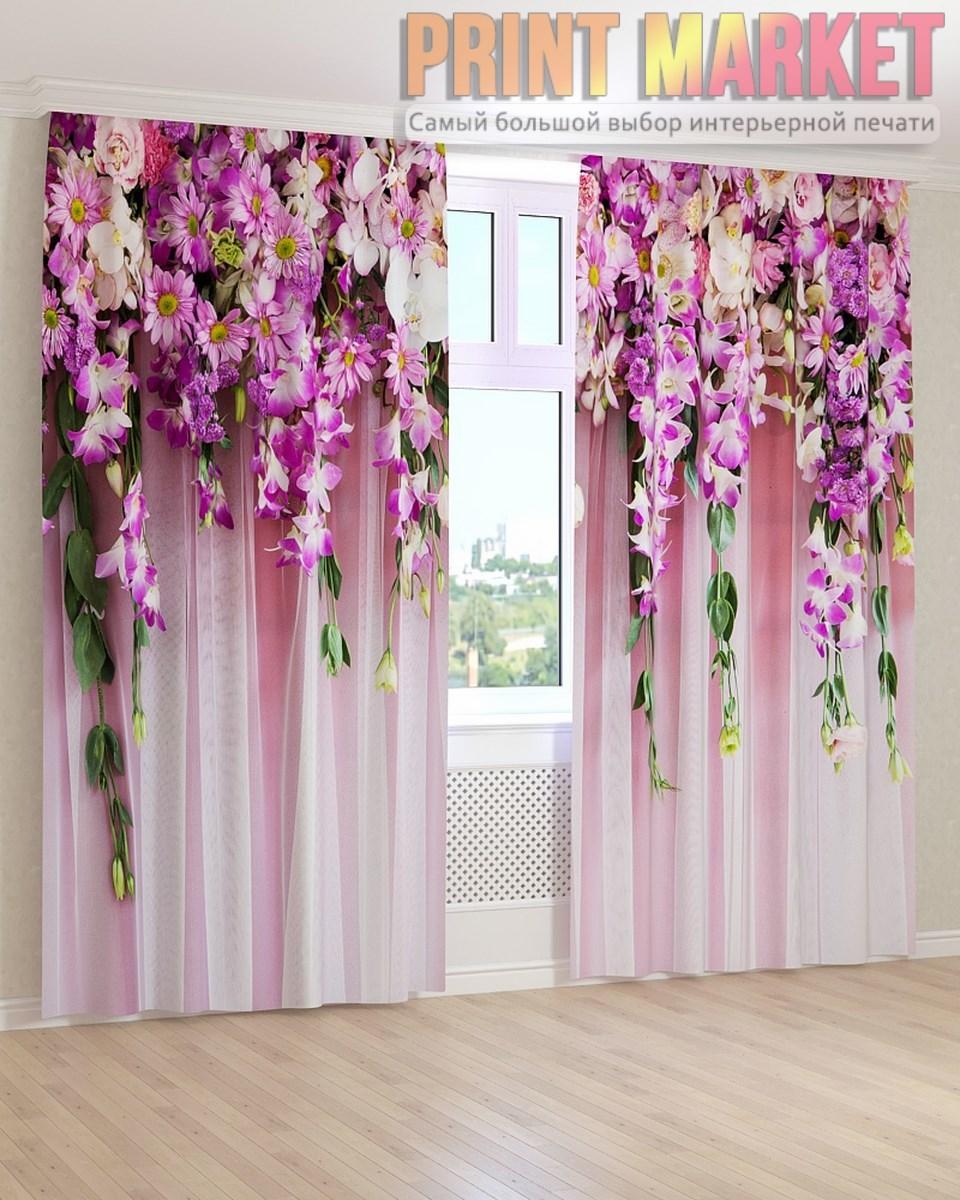 Фото шторы фиолетовые вьющиеся цветы