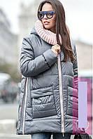 Стильное зимнее пальто пуховик А- образного силуэта с глубоким капюшоном