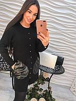 Модное платье с карманами из экокожи