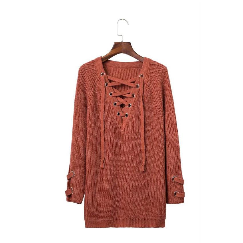 a09fba99c92 ... Женский удлинённый свитер туника с колечками на шнуровке кирпичный