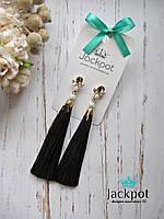 Дизайнерські шоколадні сережки китиці з перлинками від IZ