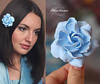 """Заколка цветок """"Голубая гардения"""". Подарок девушке. Украшения для волос, фото 1"""