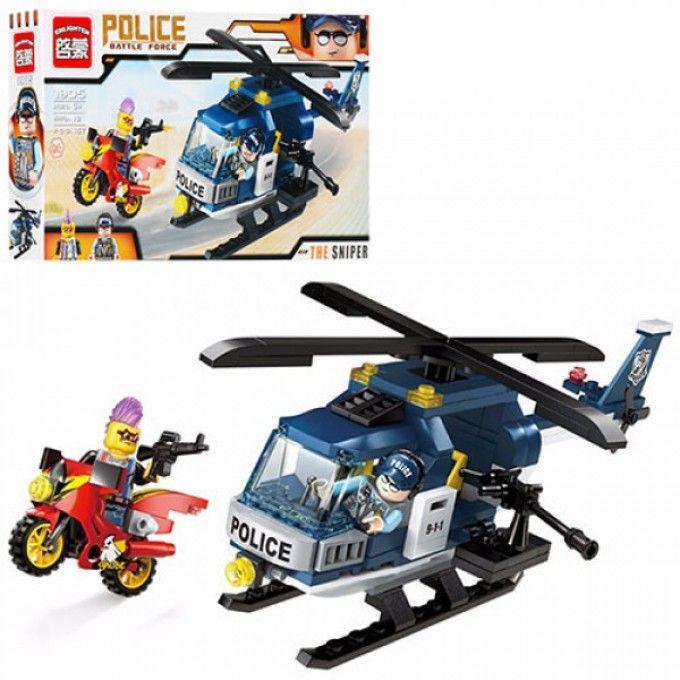 Конструктор BRICK 1905 полиция, вертолет, мотоцикл, фигурки 2шт, 157де