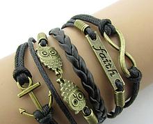 Кожаный браслет «Faith» темный 20 см коричневый