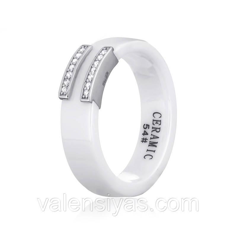 Серебряное кольцо с керамикой белой К2ФК1/1012