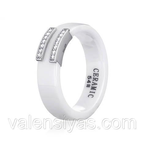Серебряное кольцо с керамикой белой К2ФК1/1012, фото 2