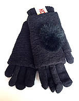 Женские перчатки Корона вязка (митенки), черного цвета