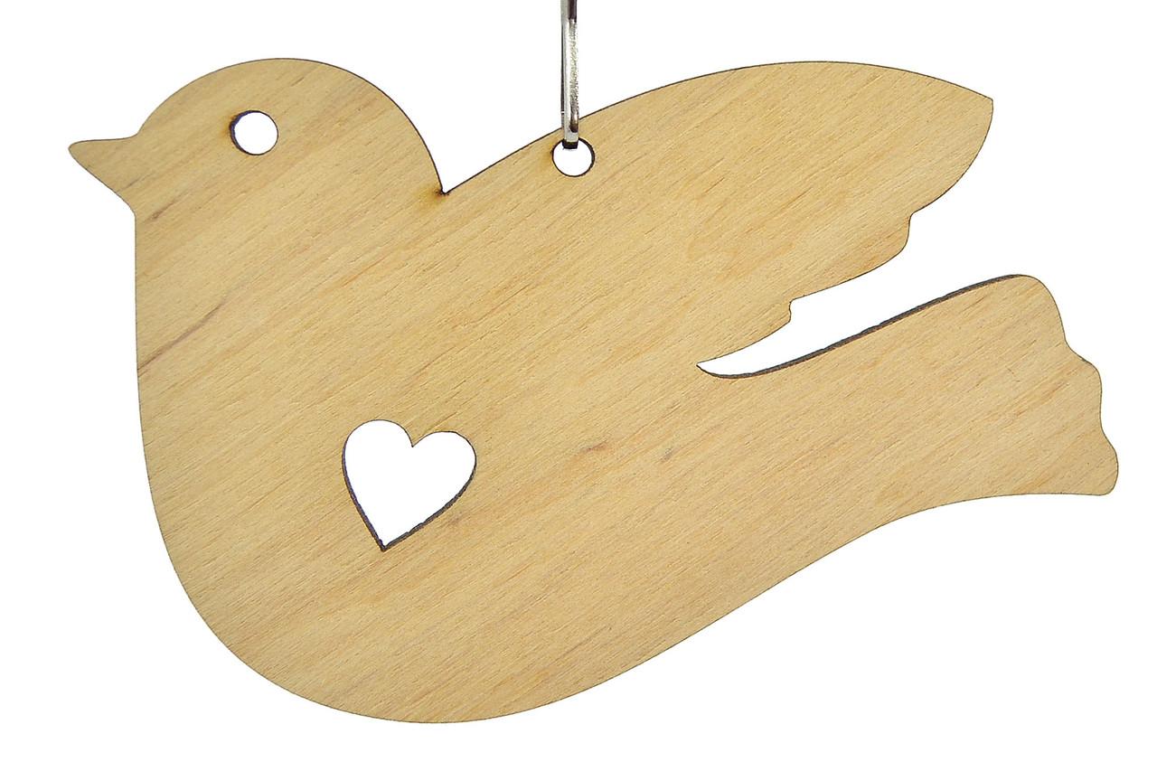 Деревянная новогодняя игрушка заготовка. Птичка с сердцем