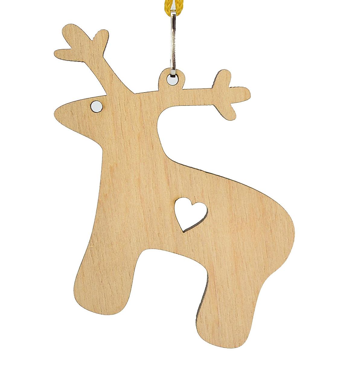 Деревянная новогодняя игрушка заготовка. Олень с сердцем