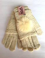 Женские перчатки Корона вязка (митенки),  бежевого цвета