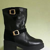 Ботинки  кожаные на толстой подошве с замшевыми вставками 39
