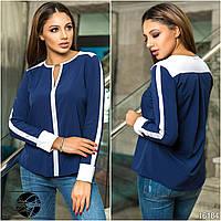 Женская блузка синего цвета с контрастными белыми вставками. Модель 16184