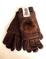 Женские перчатки Корона вязка (митенки),  коричневого цвета