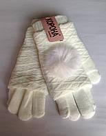 Женские перчатки Корона вязка (митенки),  белого цвета