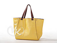 Желтая сумка из натуральной кожи, большая