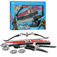 Детский игровой набор ниндзя RZ1387-88, лук, стрелы-присоски 4шт, меч, сюрикен, маска, 2 вида, в кор-ке,