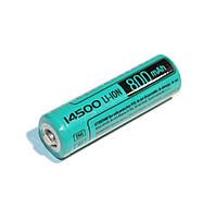 Аккумулятор 14500, 800 mAh, Videx, 1 шт, Li-ion, Bulk, перезаряжаемая батарейка