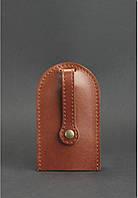Чехол для ключей, ключница кожаная коньяк (ручная работа), фото 1
