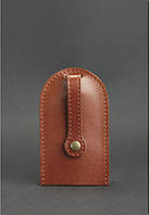 Чехол для ключей, ключница кожаная коньяк (ручная работа)