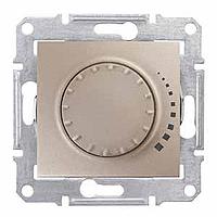 Светорегулятор (диммер) индуктивный поворотно-нажимной проходной титан