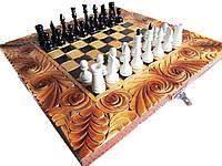 Эксклюзивные шахматы ручной работы,навесы +железные вставки с гравировкой, фото 1