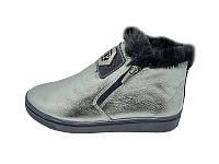 Женские ботинки зимние кожаные Visazh Stael 416 Nickel