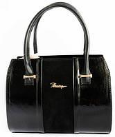 Женская кожаная сумка каркасная с замшевой вставкой, фото 1