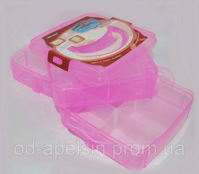 """Средний контейнер бокс для маникюрных принадлежностей Burdock, пластиковый, розовый, на 3 секции, чемоданы для мастеров, кейсы для мастеров маникюра - Интернет - магазин """"Киви"""" в Одессе"""