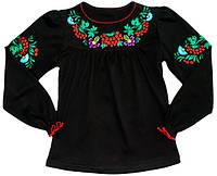 Блуза школьная вышиванка для девочки черного цвета