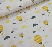 Хлопковая ткань желтые шары на белом