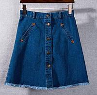 Юбка женская джинсовая на пуговицах Мона синяя