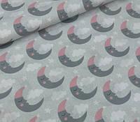 Ткань польский хлопок месяц розово-серый