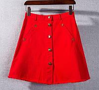 Юбка женская джинсовая на пуговицах Мона красная