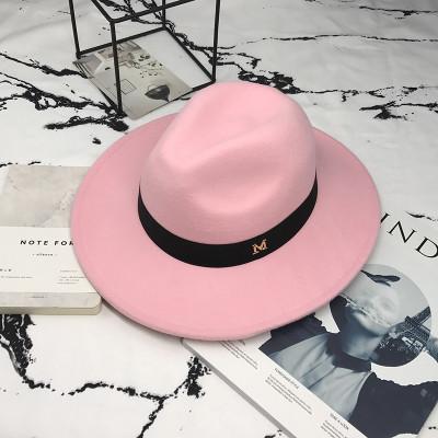 Шляпа женская фетровая Федора с устойчивыми полями и лентой розовая