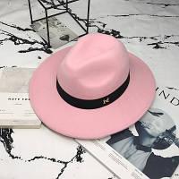 Шляпа женская фетровая Федора с устойчивыми полями и лентой розовая, фото 1