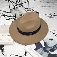 Шляпа женская фетровая Федора с устойчивыми полями и лентой бежевая, фото 1