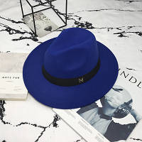 Шляпа женская фетровая Федора с устойчивыми полями и лентой синяя