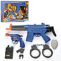 Детский игровой набор полицейского 8626-8627, автомат, зв, св, пистолет, наручники