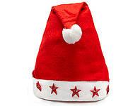 Новогодняя Шапка Деда Мороза Колпак Санта Клауса Santa Claus Светящиеся Звезды Упаковка 12 шт, фото 1