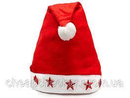Новогодняя Шапка Деда Мороза Колпак Санта Клауса Santa Claus Светящиеся Звезды Упаковка 12 шт
