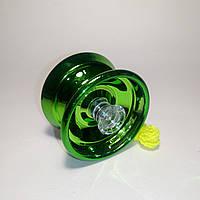 Йо-йо зелёное, металлическое с подшипником