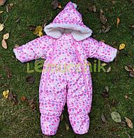 Конверт-комбинезон детский теплый розовый с капюшоном, 68-74 р-р