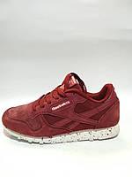 Замшевые натуральные кроссовки Reebok цвета марсала