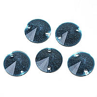 Страза для шитья, Смола, Круглая, Переливчатый синий блеск, Шлифованные, 10.0 мм