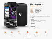 Мобильный телефон BlackBerry Q10 Black 2/16gb Qualcomm Snapdragon MSM8960  2100 мАч